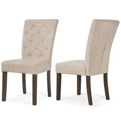 Merax Beige Dining Chair Leisure Padded Chair with Sturdy Wood Legs,Set of 2