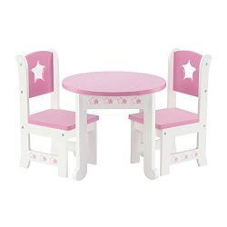 18 Inch Doll Furniture | Lovely Pink and White Table and 2 Chair Dining Set | Fits American Girl ...