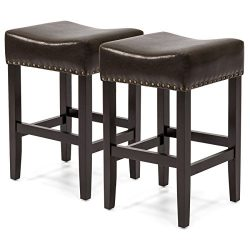 Best Choice Products Set of 2 Backless Faux Leather Upholstered 26in Counter Stools w/ Brass Nai ...