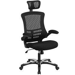 Flash Furniture High Back Black Mesh Executive Swivel Chair with Chrome Plated Nylon Base and Fl ...