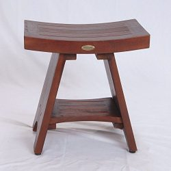DecoTeak Serenity 18″ Eastern Style Teak Shower Bench Stool With Shelf