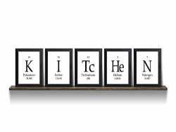 Kitchen Periodic Table Framed 5 Piece Wall Plaque Set