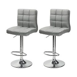 South Pioneer Set of 2 PU Leather Modern Adjustable Swivel Barstools Hydraulic Chair Bar Stools  ...
