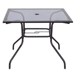 Giantex 37 1/2 Square Dining Table Glass Top Deck Patio Yard Garden Outdoor Furniture (Glass Table)