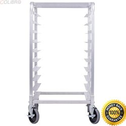 COLIBROX–10 Sheet Aluminum Bakery Rack Rolling Commercial Cookie Bun Pan Kitchen New. comm ...