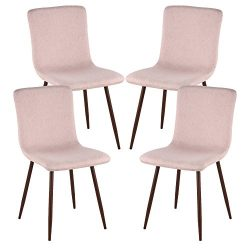 Poly and Bark Wadsworth Dining Chair with Walnut Legs in Pink (Set of 4)