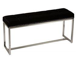 Cortesi Home Donato Contemporary Narrow Bench in Black Velvet with Nailhead Trim