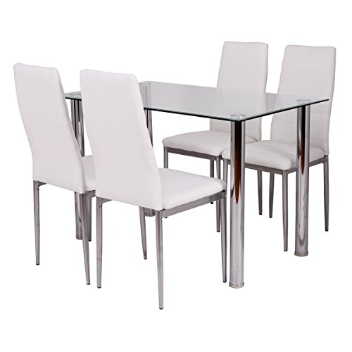 Tangkula 5 Pcs Dining Table Set Glass Table And Metal