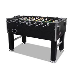 T&R sports 5FT Soccer Foosball Table Heavy Duty for Pub Game Room with Drink Holders, Black
