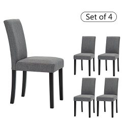 LSSBOUGHT Set of 4 Classic Fabric Dining Chairs Dining Room Chair with Solid Wood Legs, Grey
