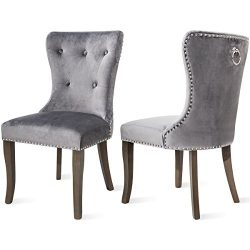 Harper Bright Design Dining Chair Tufted Armless Chair Upholstered Accent Chair, Set of 2 (Grey)