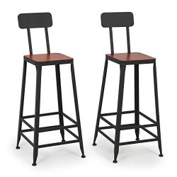 Belleze Industrial Bar Stools Barstools Wood Counter Height Wood Seat (Set of 2)