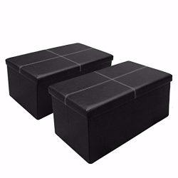 Otto & Ben 30″ Storage Ottoman [2 Piece Set] with Memory Foam Seat, Folding Foot Rest  ...