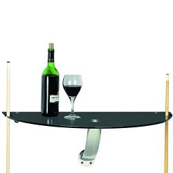 RAM Gameroom Products Wall Pub Table in Black Tempered Glass with Stainless Accents, 30 x 15 x 1 ...