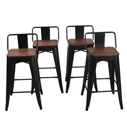 Low Back Metal Bar Stool for Indoor-Outdoor Kitchen Counter Bar Stools Set of 4 (26 inch, Low Ba ...