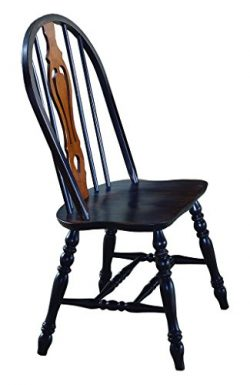 Sunset Trading Keyhole Dining Chair, Set of 2, 41″, Antique Black