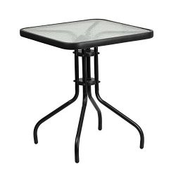 "Flash Furniture 23.5"" Square Tempered Glass Metal Table"