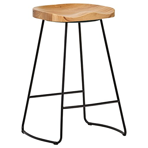 Rivet Modern Industrial Wood And Metal Counter Stool 255 H Oak