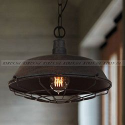 "One Light Industry Barn Style Hanging Pendant Light 14.2"" Metal Cage Ceiling Mount Rustic Bronze ..."