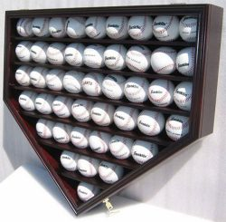 46 Baseball Display Case Wall Cabinet Holder Shadow Box, UV protection (Mahogany Finish)