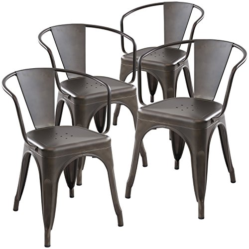 Poly And Bark Trattoria Arm Chair In Bronze Set Of 4