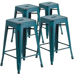 """Flash Furniture 4 Pk. 24"""" High Backless Distressed Kelly Blue-Teal Metal Indoor-Outdoor Co ..."""