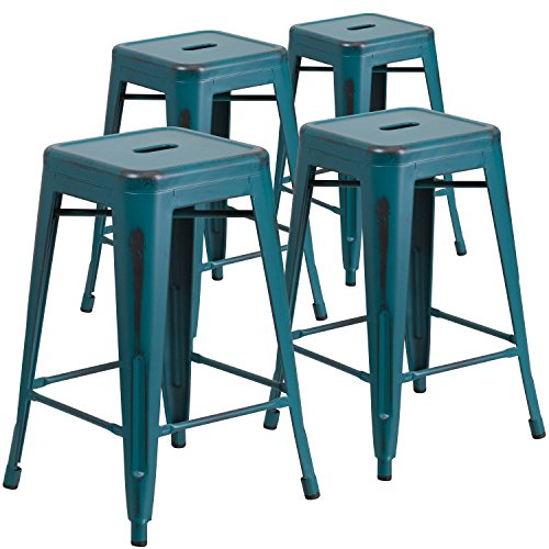 Flash Furniture 4 Pk 24 High Backless Distressed Kelly
