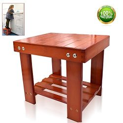 Bamboo Step Stool Multifunctional Kids Stool With Storage Shelf Small Size Toddlers Seat Bench f ...