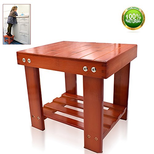 Bamboo Step Stool Multifunctional Kids Stool With Storage