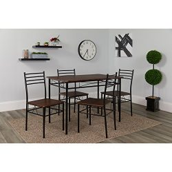 Flash Furniture Kingston 5 Piece Walnut Finish Dinette Set with Chairs