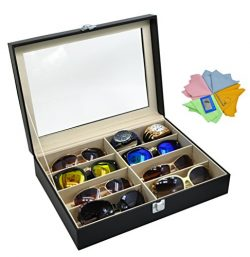 ADTL 3 Gifts for Free Black Leather Box 8 Slots For Eyeglass Sunglass Glasses Display Case Stora ...