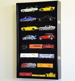 Large 1/24 Scale Diecast Model 16 Cars Display Case Cabinet Holder Holds 16 Cars 1:24 (Black Finish)