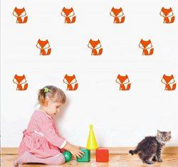 YOYOYU 36 Set Orange Forest Fox Pattern Wall Sticker-Kids Nursery Bedroom Home Decoration Vinyl  ...