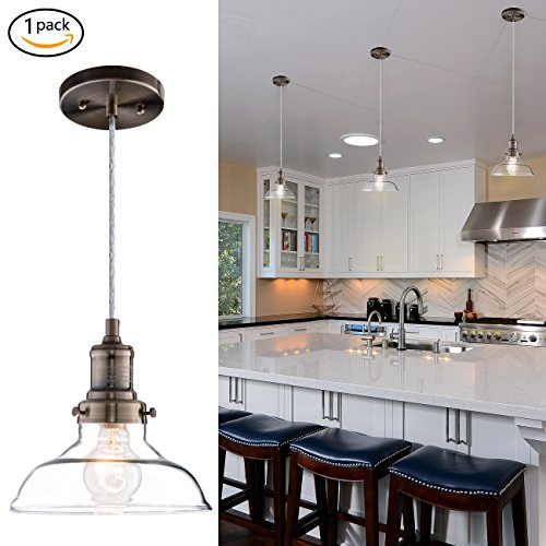 Kitchen Island Single Pendant Lighting: Donglaimei Mini Vintage Clear Glass Pendant Light, Edison