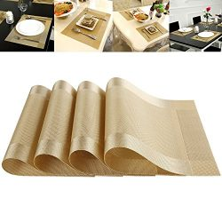 Set of 4 Placemat Heat-resistant Crossweave Woven Non-slip Insulation Kitchen Place Mats Washabl ...