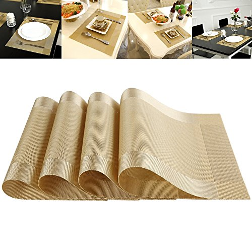 Set Of 4 Placemat Heat Resistant Crossweave Woven Non Slip