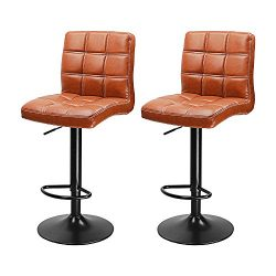 Premium Set of 2 PU Leather Modern Adjustable Swivel Barstools Hydraulic Chair Bar Stools with B ...
