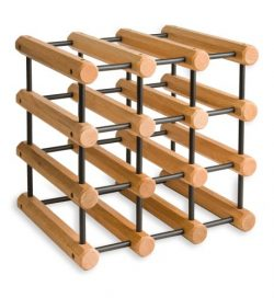J.K. Adams Ash Wood 12-Bottle Wine Rack, Natural with Black Pegs