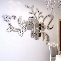 Approx 40 x 60cm 3D Acrylic Mirror Floral Art Removable Furniture Stickers Alloy Europe Painting ...