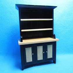 Dollhouse Miniature Kitchen Dining Room Hutch Black and Oak T – My Mini Fairy Garden Dollh ...