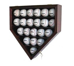 Solid Wood 21 Baseball Display Case Cabinet Holder, w/UV Protection, Lockable B21 (Cherry)