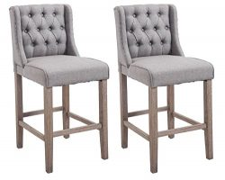 HomCom 40″ Tufted Wingback Counter Height Armless Bar Stool Dining Chair Set of 2 – Grey
