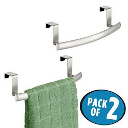 mDesign Kitchen Over Cabinet Curved Stainless Steel Towel Bar – Hang on Inside or Outside of Doo ...