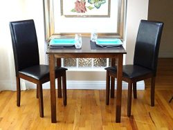 Dining Kitchen Set of 3 pc Classic Square Table 2 Chairs Fallabella Solid Wooden in Dark Walnut  ...