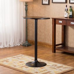 Roundhill Furniture Belham Black Round Top with Black Leg and Base Metal Bar Table