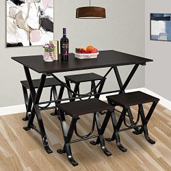 Harper & Bright Designs 5 Piece Dining Set Home Furniture Set Rectangle Dining with 4 Chairs ...