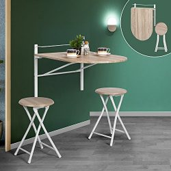 WarmCentre 3 Piece Breakfast Set Foldable Wall-mounted Dining Table with 2 Chairs Home Kitchen F ...