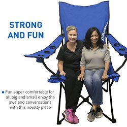 Giant Oversized Big Portable Folding Camping Beach Outdoor Chair with 6 Cup Holders! Fold Compac ...