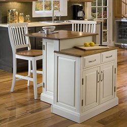Home Styles 5010-948 Woodbridge 2-Tier Kitchen Island with 2 Stool, White Finish