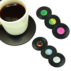 6 Pcs/ Set Home Table Cup Mat Creative Decor Coffee Drink Placemat Tableware Spinning Retro Viny ...